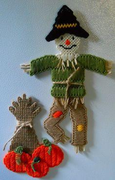 Plastic canvas - Scarecrow and cornstalk w/ pumpkins magnets by HomespunCrafting, $15.00 - plastic canvas