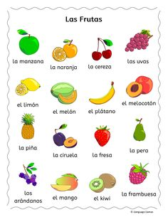 learning spanish 56 pages of 'Write around the room' flashcards, handouts, games and activities to practice Spanish words for fruit, great for elementary students. The vocabulary se Preschool Spanish, Spanish Lessons For Kids, Learning Spanish For Kids, Spanish Teaching Resources, Elementary Spanish, Spanish Activities, Spanish Language Learning, Spanish Classroom, Learning Italian