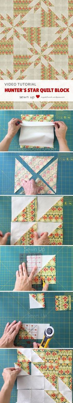 Sewing Block Quilts Video tutorial: Hunter's star quilt block - This block is made out of 2 squares of fabric. Yes, just 2 squares of fabric in contrasting fabrics. How to make a quick and easy Hunter's star quilt block Learn how to make a Hunter's … Star Quilt Blocks, Star Quilt Patterns, Star Quilts, Easy Quilts, Amish Quilts, Quilting Tutorials, Quilting Projects, Quilting Tips, Hunters Star Quilt