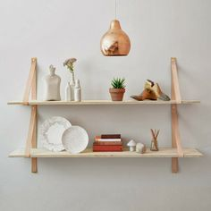 Leather strap open shelving plywood boards