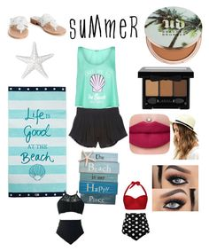 """""""Summer time sadness"""" by lovelyylex ❤ liked on Polyvore featuring Palm Beach Sandals, Wildfox, Victoria's Secret, Lexington, Urban Decay, NYX, Lulu*s and strawbags"""