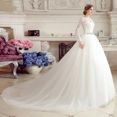 Classy V-Neck Appliques Cathedral Wedding Dress With Sleeves Wedding Dresses 2015- ericdress.com 11122393