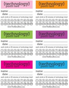 I so need to do this in the Blank household. My kids wouldn't know what hit them! It could be used to help them make better choices, rewarding them for good choices and punishing them for bad choices, but encouraging them to use their minds other then turning to the TV or IPad!   Technology Punch Cards Printable -  www.themenumom.com
