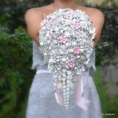 Wedding bouquet full of bling.
