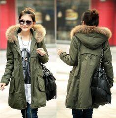 Hot Lady Winter Thick Solid Coat Parkas Fur Hat Cotton Padded Long Jacket Zipper Black Army Green Plus Size M L XL XXL XXXL