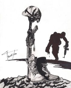 fallen soldier cross drawing - Google Search