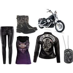 Sons of Anarchy inspired outfit Biker Chick Outfit, Biker Chick Style, Biker Outfits, Punk Outfits, Love Fashion, Fashion Outfits, Womens Fashion, Mode Rockabilly, Biker Wear