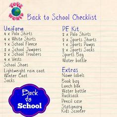 Toyz World Back to School Checklist