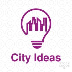 logo design of a light bulb with city skyline, ( creative, creativity, cityscape, energy, power, smart, real estate, agency, houses, home, homes, apartment, tourism, residence, tower, bright, etc)