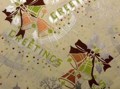 Vintage 1930's - 40's Christmas Wrapping Paper, Art Deco, Christmas Bells | eBay