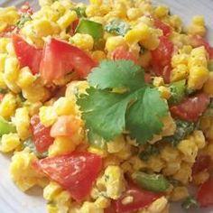 Cilantro Tomato Corn Salad Recipe- a good side dish for Mexican Night!