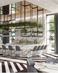 from Tile Italia Restaurant Exterior Design, Modern Restaurant Design, Bar Interior Design, Design Exterior, Bar Restaurant, Bar Design, Luxury Restaurant, Coffee Shop Design, Cafeteria Design