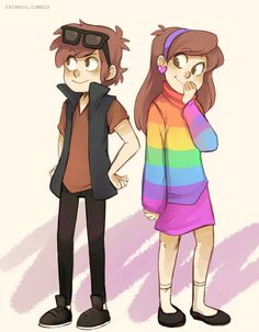 gravity falls dipper and mabel episode: love god (fun fact: since the creator was for some reason not allowed to add a 'queer' character to the cartoon, he gave mabel a rainbow swearer to represent gay rights :3)