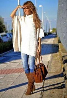 Poncho con cuello... Descubre más modelos y cómo combinarlos en...http://www.1001consejos.com/ponchos-de-moda/