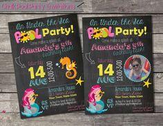Mermaid Pool Party Printable Birthday Party Invitation  Mermaid Swim Kid Pool Party Chalk Invites  Girl Ariel Seahorse Birthday DIY