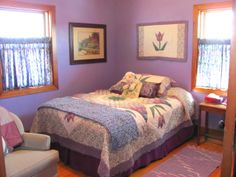 Bedroom , Inspiring and Nice Warm Colors for Bedroom with Comfy Style : Purple Bedroom With Awesome Look