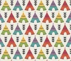 Little Indians-Colorful Teepees fabric by bohemiangypsyjane on Spoonflower - custom fabric