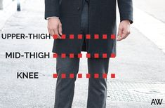 LAPEL WIDTH For Overcoats, the lapels are pretty standard width, so this is a non-issue. The lapels on the Brooks Brothers Overcoat above are a little wide, but they're still very acceptable.  HOW LONG SHOULD AN OVERCOAT BE? No matter what climate you live in, it should end somewhere above your knee – never longer. A good rule of thumb is mid-thigh to just above your knee is where your Overcoat should hit.