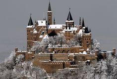замок-крепость, гора, германия, город, штутгарт, зима, снег