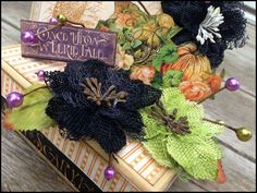 """Here is a close up of the beautiful Halloween box created by Petaloo DT member Stacy Rodriguez!  She has created this centerpiece by decorating the box with  """"An Eerie Tale"""" paper by Graphic 45 along with Burlap Blossoms & Botanica Berrries by Petaloo!  You can learn how to make you own box on the Petloo Blog..."""
