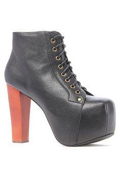Jeffrey Campbell Lita High Heel Bootie - Black Leather $132.15 (save $32.85)