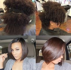 Natural silk press- we have like the exact same texture. My hair better look like this lol. --- this is so dope, i freaking love her hair! Pelo Natural, Natural Hair Tips, Natural Hair Styles, Natural Hair Bob Cut, Natural Hair Silk Press, Silk Press Hair, Bob Hairstyles, Straight Hairstyles, Flat Twist Out