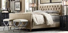 THIS IS IT - bedroom of my dreams. Mostly tone on tone, love the cool tone sand/camel of tufted headboard, drapes. The furniture is to dye for and the paint color is perfect. Bedroom Makeover, Elegant Bedroom, Restoration Hardware, Fabric Panel Bed, Home Decor, Bedroom Furniture, Home And Living, Bedroom Collection, Master Bedroom Makeover