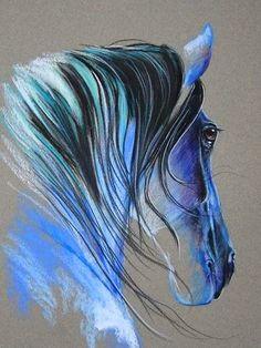 Horse art by Paulina Stasikowska Pastel Art, Animal Art, Animal Drawings, Art Drawings, Drawings, Horse Painting, Pastel Painting, Painting, Art