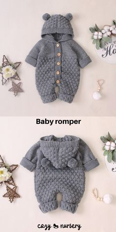 Adorable knitted baby jumpsuit with chunky knit design, comfortable hood and cute pom pom ears. Knitted from a soft cotton blend material. Knitted Baby Outfits, Knitted Baby Clothes, Knitted Romper, Baby Boy Outfits, Baby Boy Knitting Patterns, Baby Clothes Patterns, Baby Patterns, Baby Overall, Baby Jumpsuit