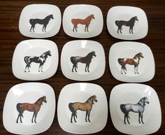 Horse Dinner Plates 9 different horse colors, gently used. Horse Sculpture, Dinner Plates, Different Colors, Equestrian, Decorative Plates, Horses, Fine Art, Black And White, Painting
