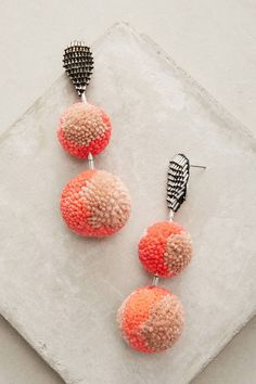 Mignonne Gavigan Orange Pom Drop Earrings , statement, summer