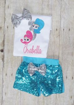 Shimmer and shine birthday outfit Shimmer and shine by MommaMays Aaliyah Birthday, Fourth Birthday, 6th Birthday Parties, Birthday Ideas, Birthday Outfits, Birthday Tutu, Shimmer And Shine Outfit, Shimmer Y Shine, Shine Costume