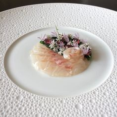 Seabass kobujime/sea asparagus/karashimizuna/coriander and chive flowers/prickly pear capsule by @tadashi_takayama Tag your best plating pictures with #armyofchefs to get featured. #seabass #seaasparagus #flower #kombu #ficodindia #kresios #fish #plating #chefs