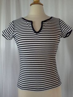 SIZE PS New $40.00 CALVIN KLEIN Navy Blue & White Striped Stretch Top T-Shirt #CalvinKleinJeans #Pullover #CareerCasual
