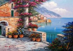 Ernesto Di Michele~ Amalfi Panorama South Of Italy Painting