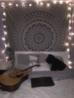 New room tapestry with lights:) #room #tapestry #black&white