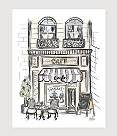 Fleuriste - print france drawing, cafe art, shop fronts, doodle drawings, d France Drawing, Art Drawings, Drawings, Building Illustration, Lily And Val, Cafe Art, Art Journal, Doodle Drawings, Prints