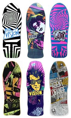 Vision skateboards 1980's. I had top right board but covered it in hazardous waste stickers and clear grip tape!! Those were the days!!