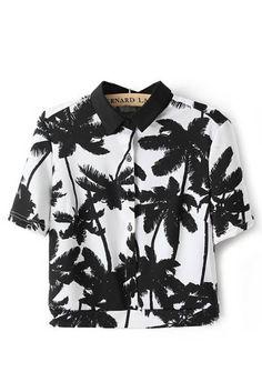 Palm Printing Short Sleeves Blouse