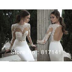 Online Shop Vestido De Noiva 2014 Sexy Open Back Lace Wedding Dresses Long Sleeve Wedding Dress 2014 Lace Wedding Dress Vestido De Casamento|Aliexpress Mobile