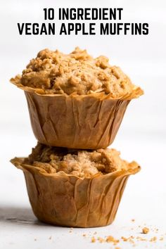 Vegan Apple Muffins are good year round and need just 10 ingredients. Perfect for on the go or just meal prepping breakfast ahead. Can be frozen and can be gluten free/top 8 allergen free. Vegan Apple Muffins, Dairy Free Muffins, Dairy Free Snacks, Vegan Snacks, Dairy Free Recipes, Vegan Desserts, Vegan Recipes, Healthy Vegan Breakfast, Unsweetened Applesauce