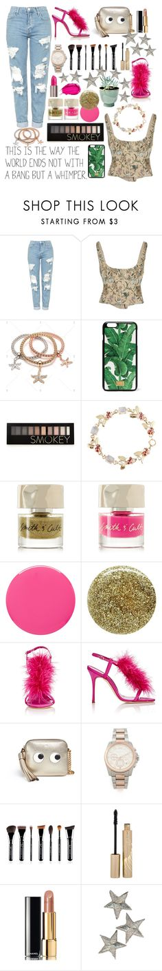 """Untitled #242"" by poorvashikalra ❤ liked on Polyvore featuring Topshop, Brock Collection, Dolce&Gabbana, Forever 21, Tiffany & Co., Smith & Cult, Urban Decay, Manolo Blahnik, Anya Hindmarch and Michael Kors"