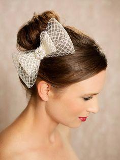 Ivory Bow, Bridal Hair Accessories, Birdcage, Crystal Bow Fascinator, Wedding Hair Clip, Vintage Style Headpiece, Bridal Hair Piece