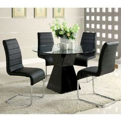 Sumiton Contemporary Style Black Finish 5 Piece Glass Top Dining Table Set