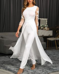 Western Plain Full Length Patchwork Slim Womens Jumpsuit We carry a wide array of the hottest styles of tops, bottoms, dresses, jewelry, and accessories. Trend Fashion, Womens Fashion, Latest Fashion, Style Fashion, White Lace Jumpsuit, Mesh Jumpsuit, Moda Formal, Valentines Day Dresses, Bridal Jumpsuit
