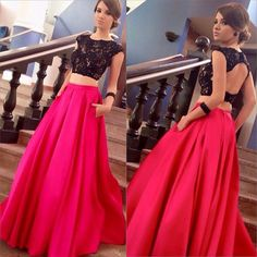 2 Piece Prom Dresses,Long Red Satin Prom Dresses