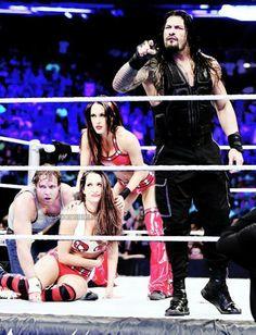 Dean Ambrose Brie Nikki Bella & Roman Reigns