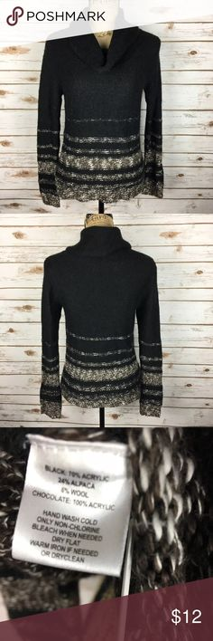 ANN TAYLOR LOFT Sz Small Black & Brown Sweater Pre-owned ANN TAYLOR LOFT Women's Size Small Black & Brown Stripe Turtleneck Sweater. Long sleeve.  *Bust is 17 inches laying flat. *Length is 23 inches from shoulder to bottom hem. LOFT Sweaters Cowl & Turtlenecks