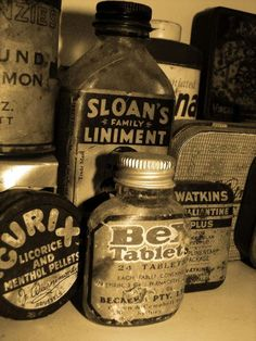 This a photo of medicine bottles. In the story crook keeps old medicine bottles in his room. Antique Bottles, Vintage Bottles, Vintage Tins, Bottles And Jars, Vintage Perfume, Antique Glass, Perfume Bottles, Old Medicine Bottles, Tonsil Stones