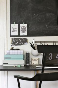 black white and mint.love this punch of mint in an otherwise monochromatic colour scheme.Home office decor. Workspace Inspiration, Decoration Inspiration, Room Inspiration, Interior Inspiration, Office Interior Design, Office Interiors, Home Interior, Modern Interior, Interior Decorating